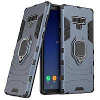 Чехол Ring case для Samsung Galaxy Note 9 (N960) бронированный бампер с кольцом темно-синий, фото 1