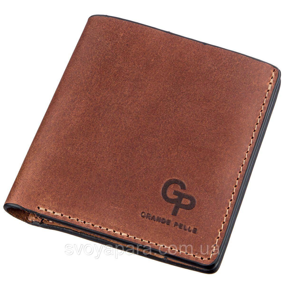 Компактное портмоне унисекс с накладной монетницей GRANDE PELLE 11238 Коричневое