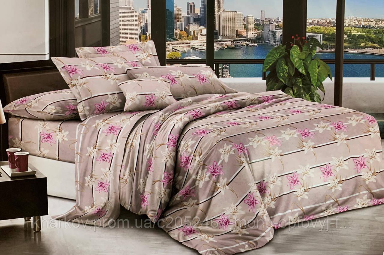 Евро  комплект двухспального  постельного белья  с цветами
