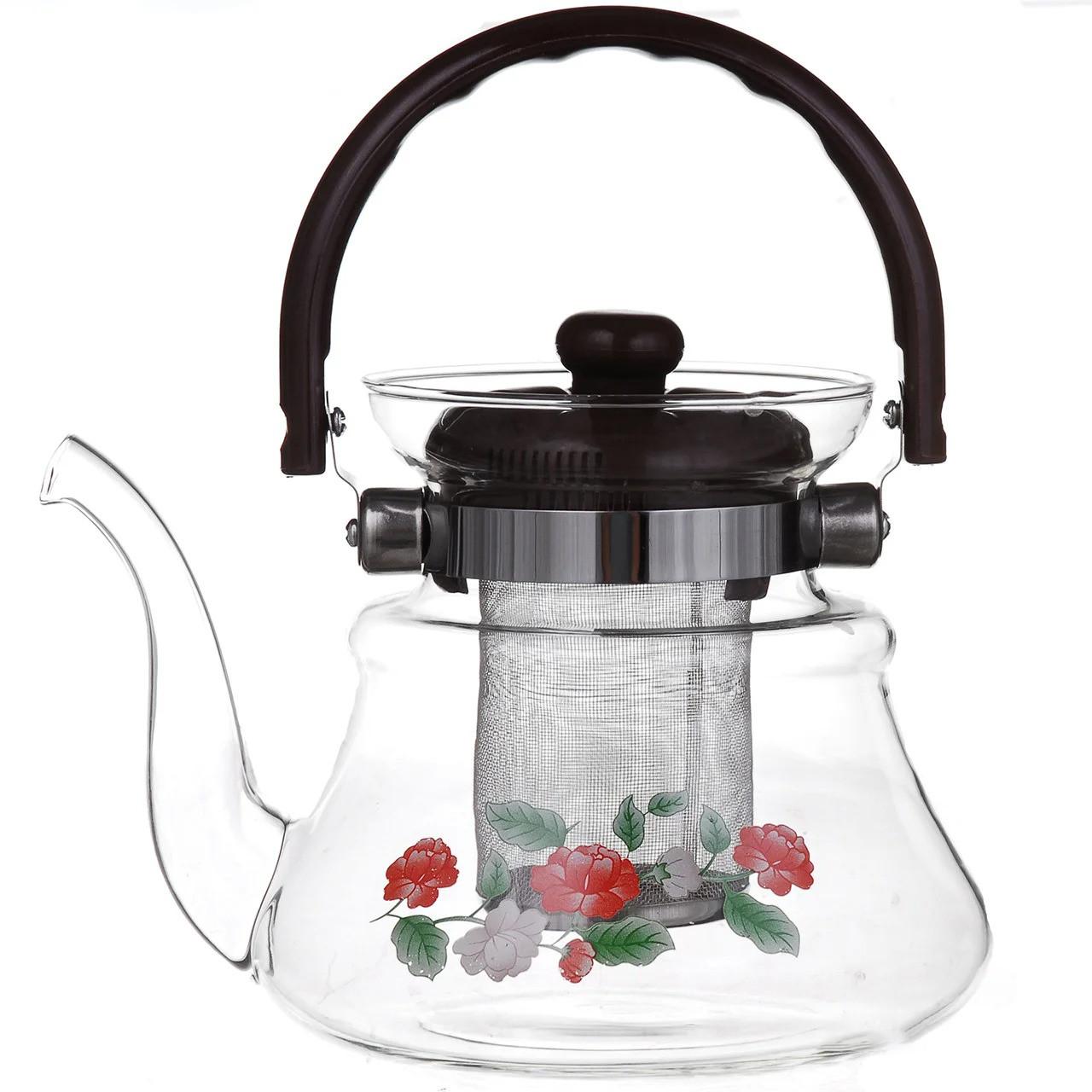 Чайник заварочный стеклянный A-PLUS 1.0 л для заварки чая