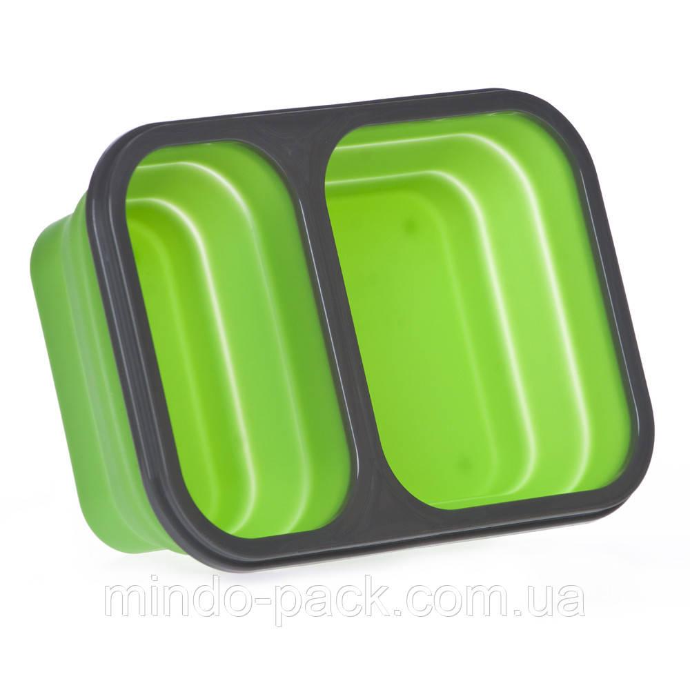 Ланчбокс силиконовый складной двойной (зелёный)