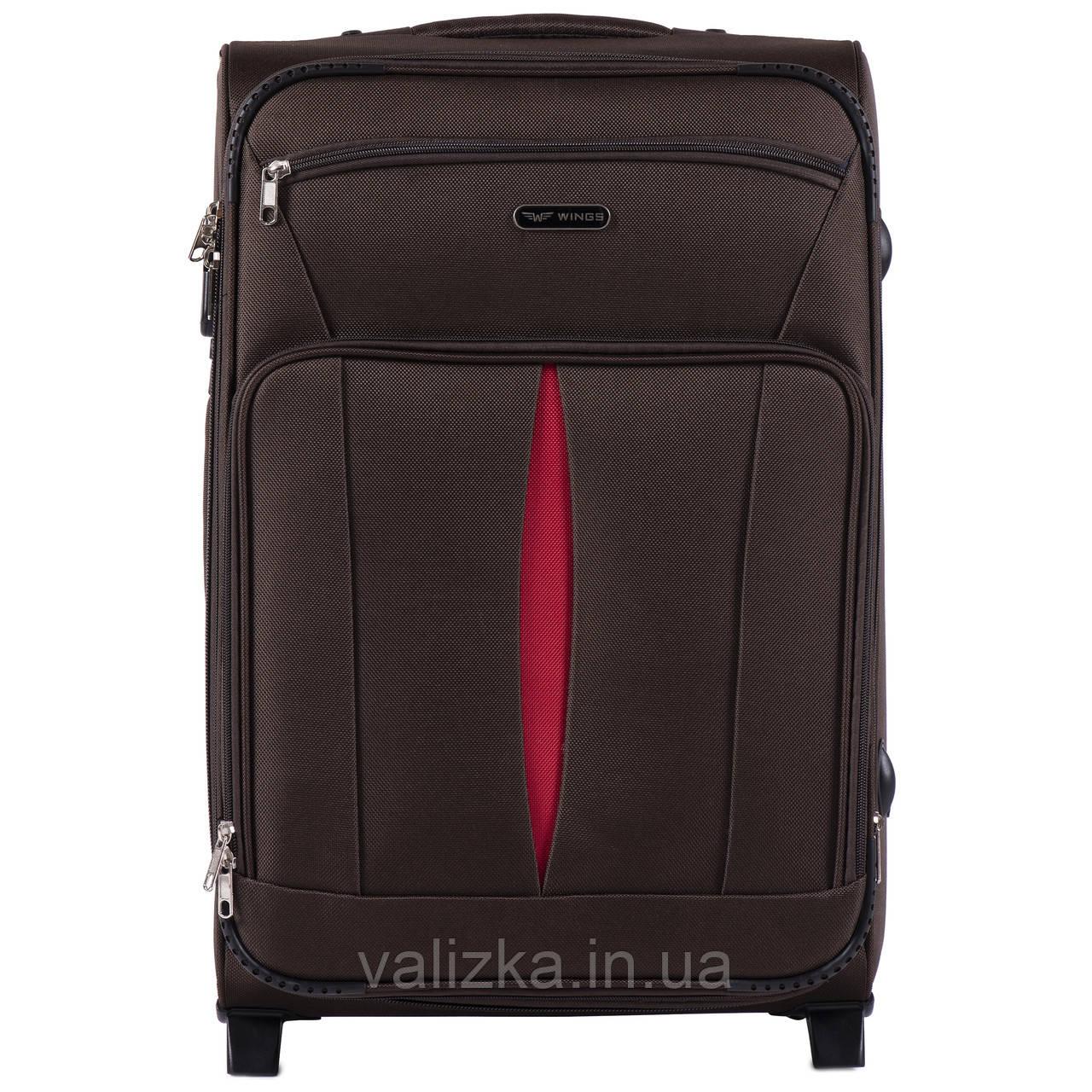 Средний текстильный чемодан кофейный с расширителем Wings 1601