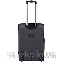 Средний текстильный чемодан темно-серый с расширителем Wings 1601, фото 3