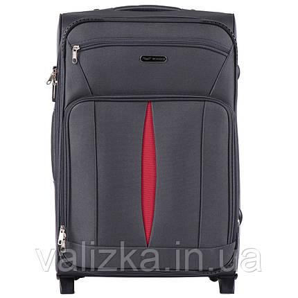 Средний текстильный чемодан темно-серый с расширителем Wings 1601, фото 2