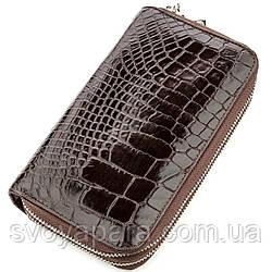 Клатч мужской CROCODILE LEATHER 18526 из натуральной кожи крокодила Коричневый