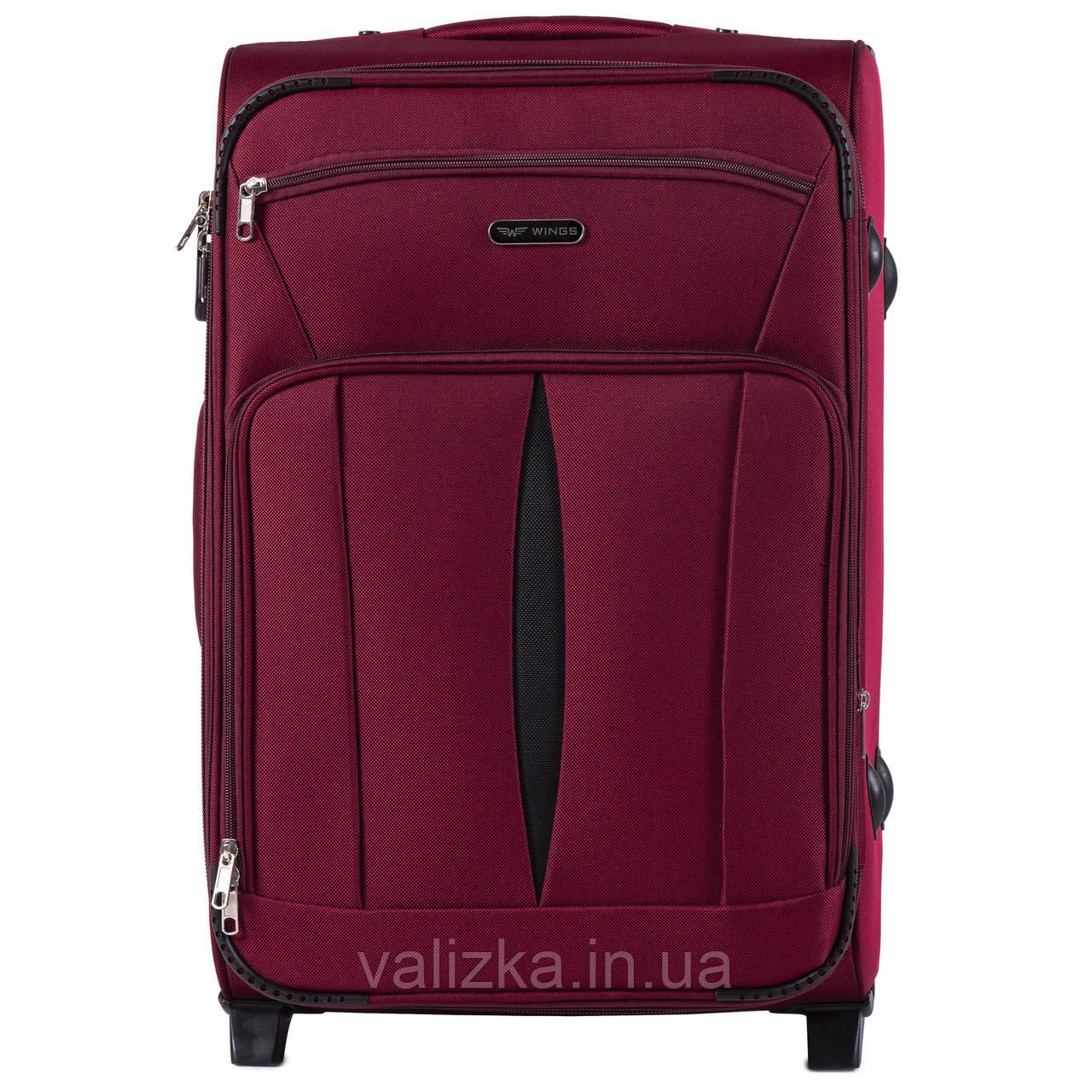 Средний текстильный чемодан красный с расширителем Wings 1601