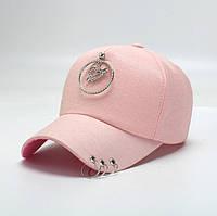 Кепка бейсболка Сердце  с кольцами Розовая
