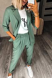 Женский летний костюм лен пиджак и брюки