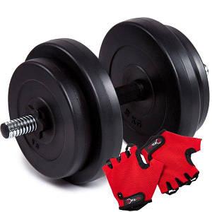 Гантель бітумна Iron Body 15,5 кг + рукавички