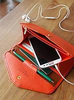 Женский оранжевый портмоне-чехол для телефона , фото 1