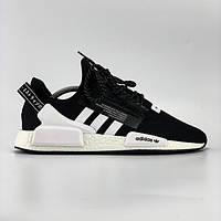 Мужские кроссовки Adidas Pharrell Williams NMD R1 в стиле Адидас НМД ЧЕРНЫЕ (Реплика ААА+)