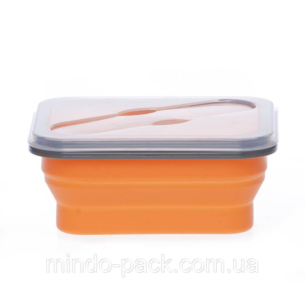 Ланчбокс не герметичный силиконовый складной (оранжевый)