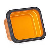 Ланчбокс не герметичный силиконовый складной (оранжевый), фото 2