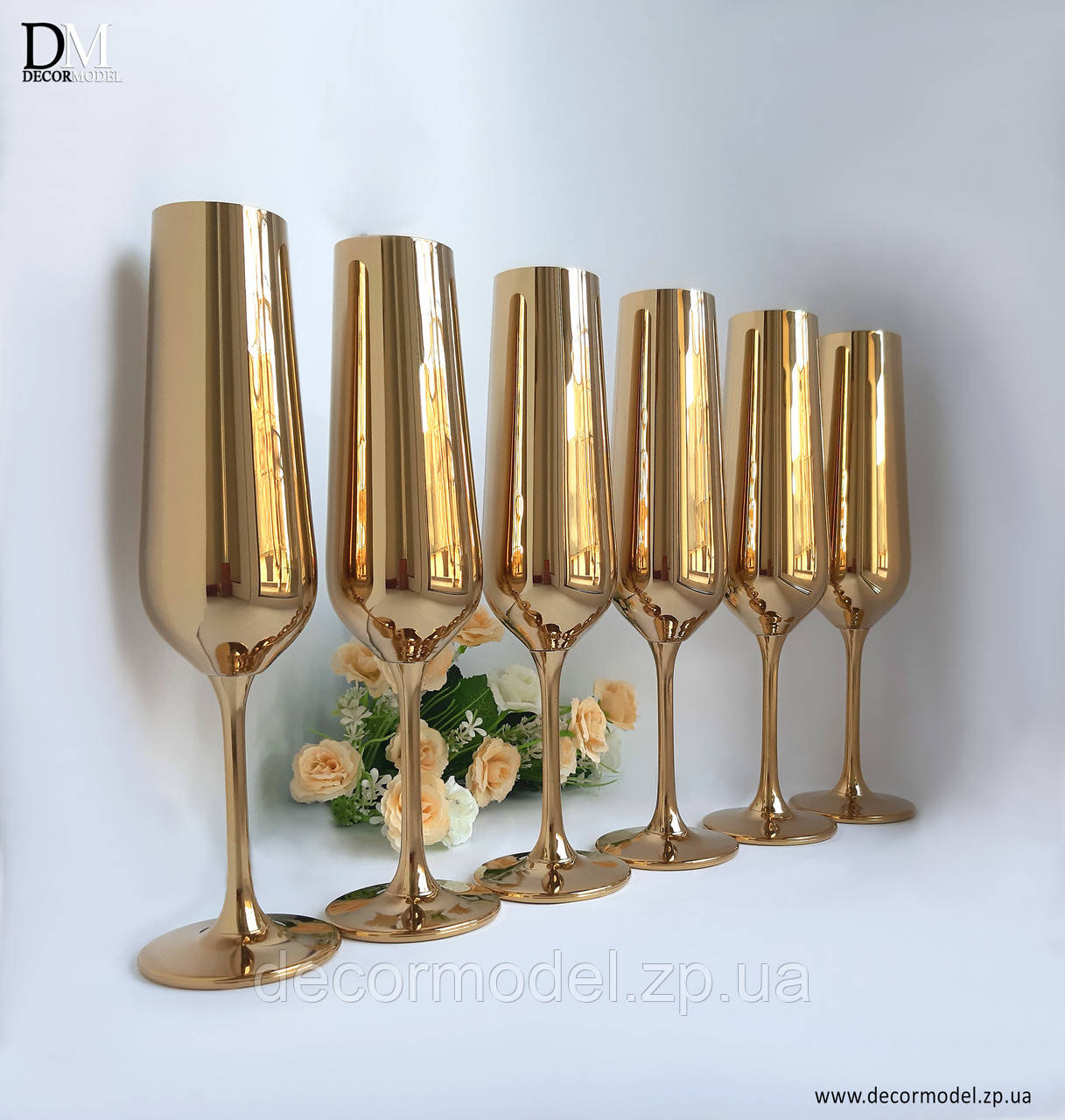 Набор бокалов для шампанского Bohemia Strix 200 ml (цвет: ЗОЛОТО)