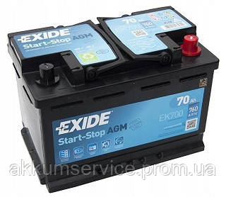 Аккумулятор автомобильный EXIDE AGM start-stop 70AH R+ 760A (EK700)
