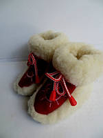 Чуни детские из овечьей шерсти - красные вставки