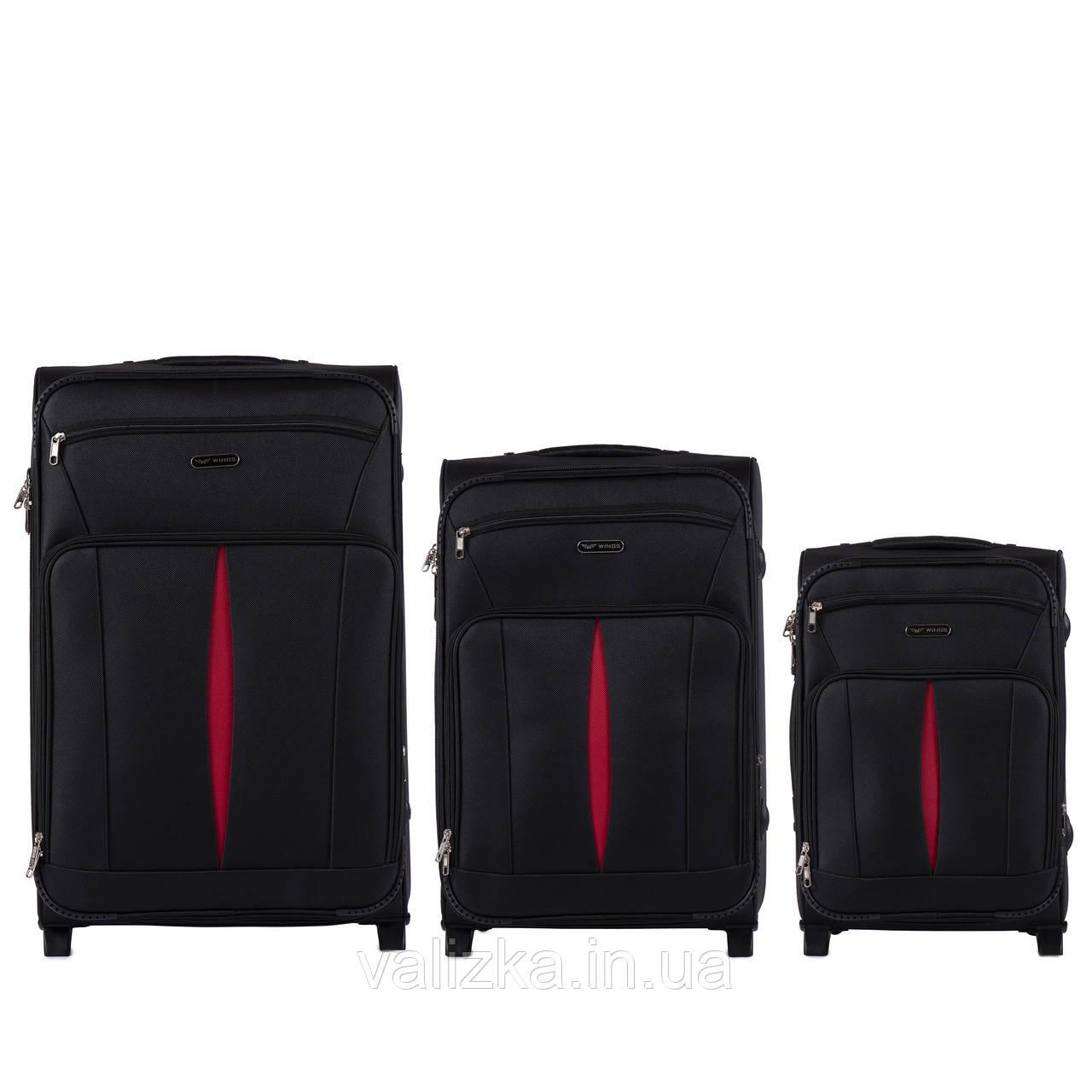 Комплект текстильных чемоданов на 2-х колесах Wings с расширителем, черного цвета