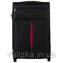 Комплект текстильных чемоданов на 2-х колесах Wings с расширителем, черного цвета, фото 2