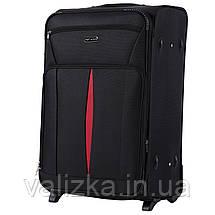 Комплект текстильных чемоданов на 2-х колесах Wings с расширителем, черного цвета, фото 3