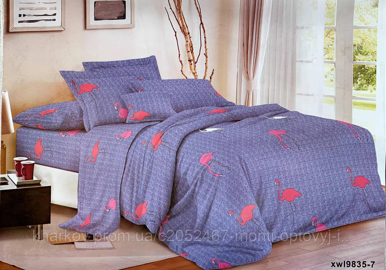 Евро  комплект двухспального  постельного белья с фламинго
