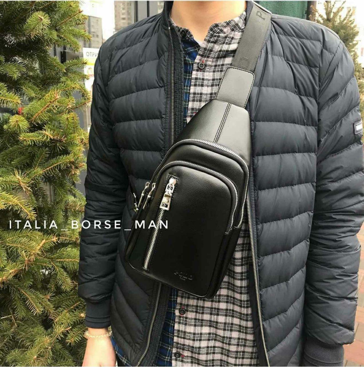 Мужская кожанная сумка (барсетка) через плечо