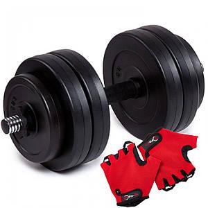 Гантель бітумна Iron Body 13 кг з рукавичками