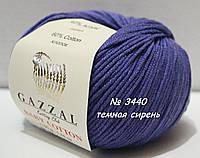 Пряжа для вязания хлопок/акрил BABY COTTON GAZZAL № 3440 - темная сирень