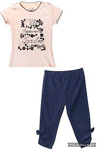 Футболка и леггинсы для девочки, размеры  5, 6 лет