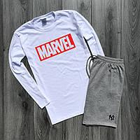 Мужская кофта с длинными рукавами + шорты Marvel. Мужской летний костюм. ТОП качество!!! Реплика