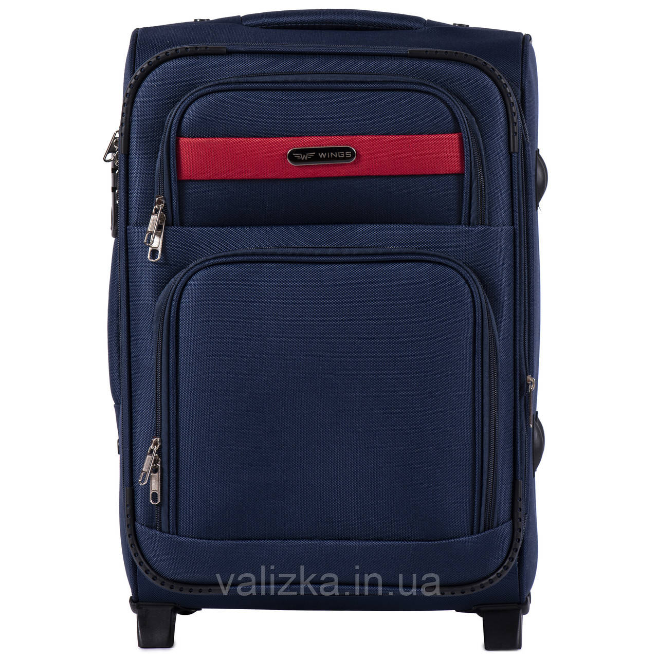 Малый текстильный чемодан синий с расширителем Wings 1605