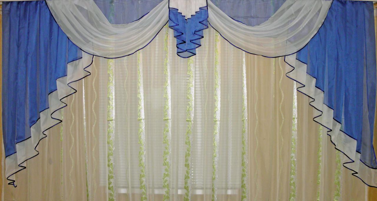 Ламбрекен №52 на карниз 3 метра, цвет голубой