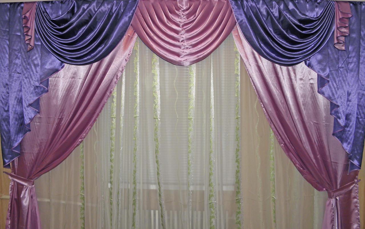 Ламбрекен и шторы из атласа  №49 Цвет фиолетовый с розовым