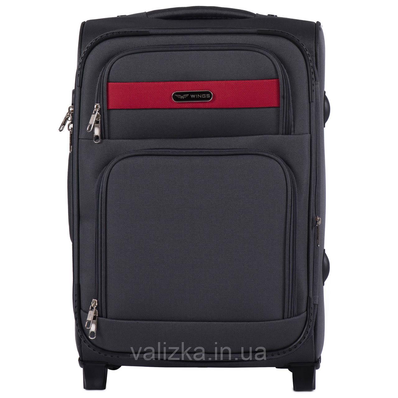 Малый текстильный чемодан темно-серый с расширителем Wings 1605