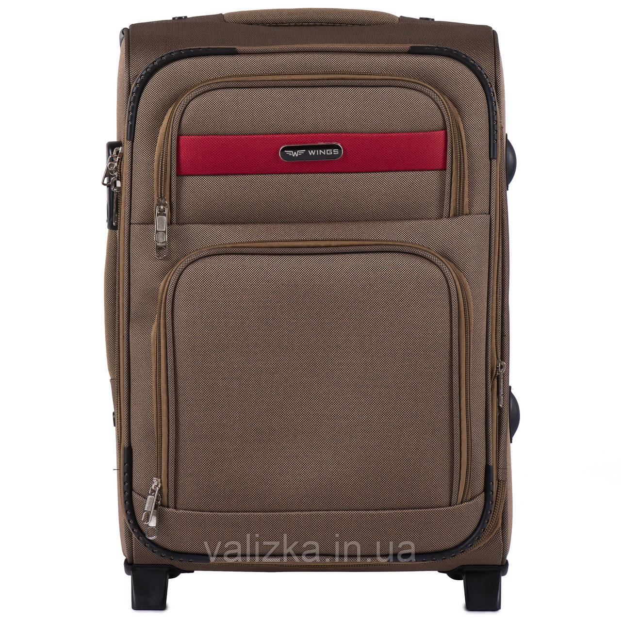 Малый текстильный чемодан кофе с молоком с расширителем Wings 1605