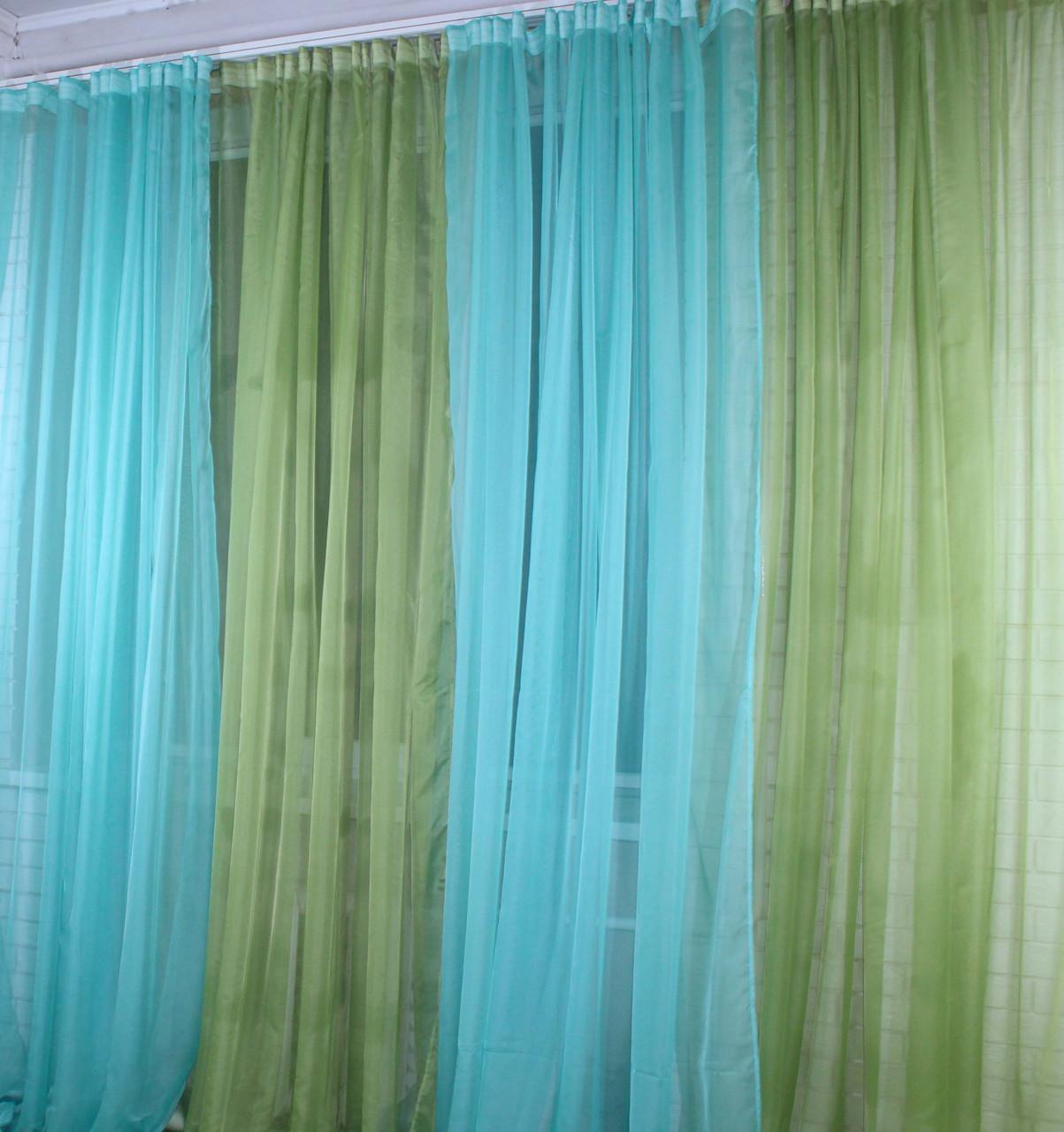 Декоративная гардина из шифона. Цвет оливковый с бирюзовым. 012дк