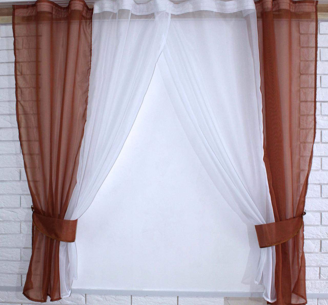 Кухонные шторки с подвязками №17 Цвет коричневый с белым
