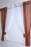 Кухонные шторки с подвязками №17 Цвет коричневый с белым, фото 2