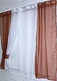 Кухонные шторки с подвязками №17 Цвет коричневый с белым, фото 3