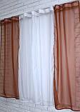 Кухонные шторки с подвязками №17 Цвет коричневый с белым, фото 5
