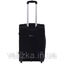 Средний текстильный чемодан черный с расширителем Wings 1605, фото 3