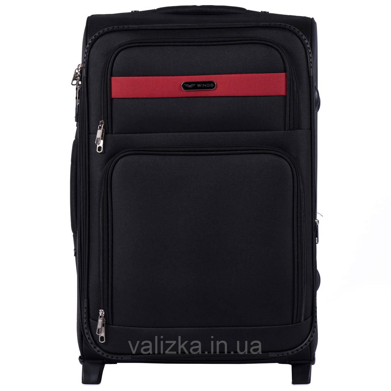 Средний текстильный чемодан черный с расширителем Wings 1605