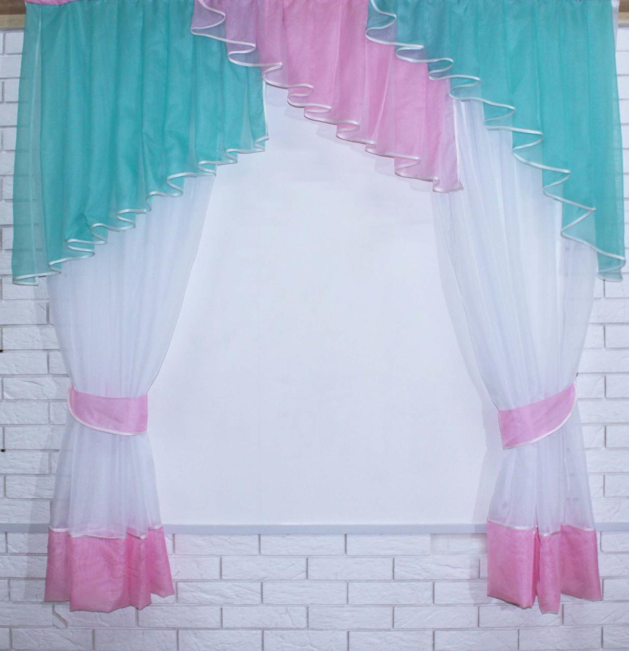 Кухонні завісь, шторки з ламбрекеном. Колір блакитний з рожевим. На карниз 1,5-2м. №49