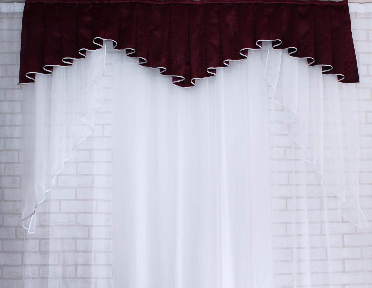 Ламбрекен из плотной ткани №108 Цвет бордовый. Код:108л130