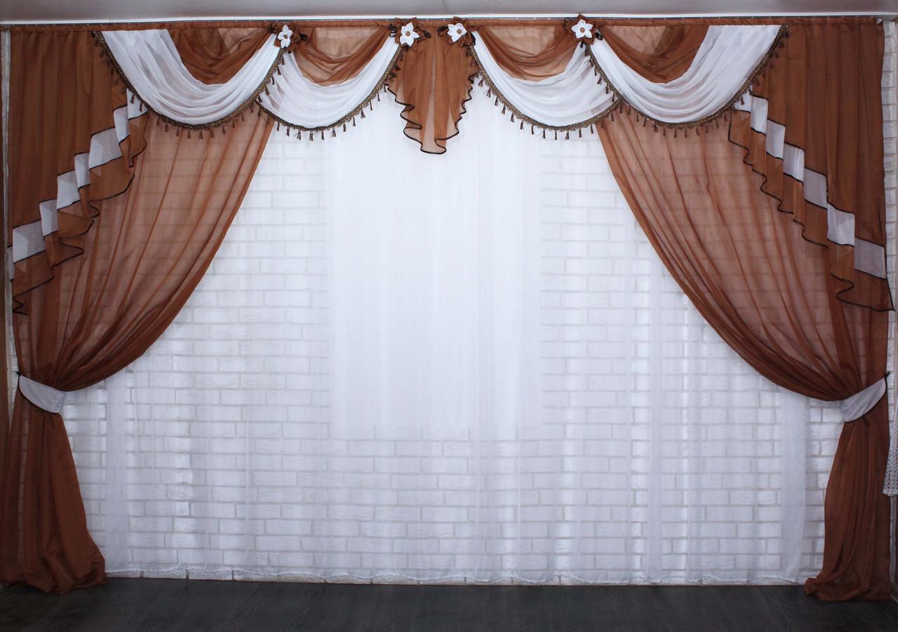 Комплект ламбрекен зі шторами на карниз 4м. №28. Колір коричневий з білим.