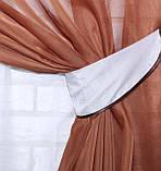 Комплект ламбрекен зі шторами на карниз 4м. №28. Колір коричневий з білим., фото 7