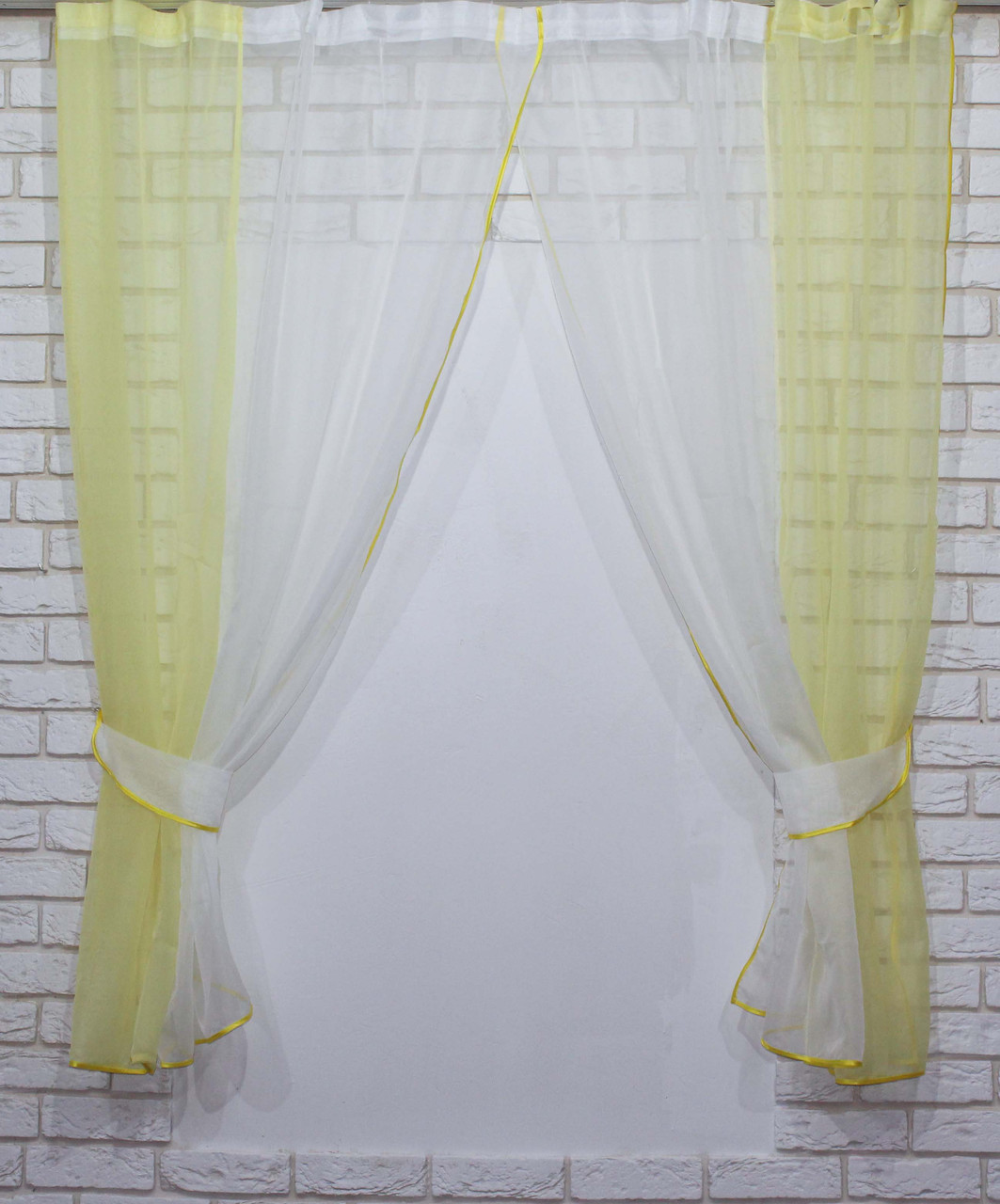 Комплект кухонные шторки с подвязками №17 Цвет жёлтый
