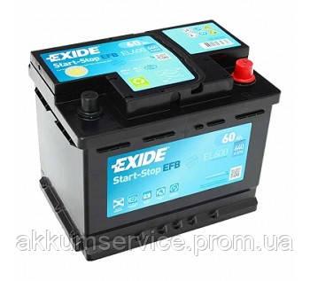 Аккумулятор автомобильный EXIDE EFB start-stop 60AH R+ 640A (EL600)
