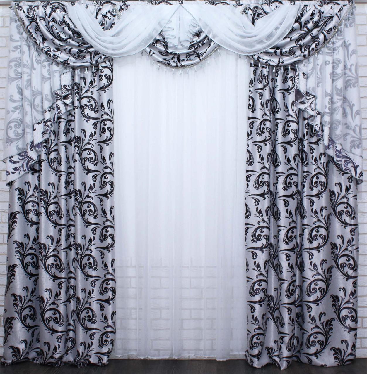 """Ламбрекен ручной выкладки из ткани """"Блэкаут"""" Код 069лш140"""