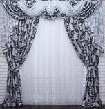 """Ламбрекен ручной выкладки из ткани """"Блэкаут"""" Код 069лш140, фото 2"""