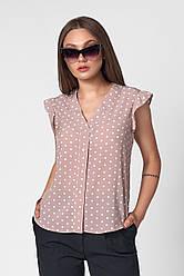 Жіноча блуза в горошок колір: блакитний, беж, капучіно розмір 42-50